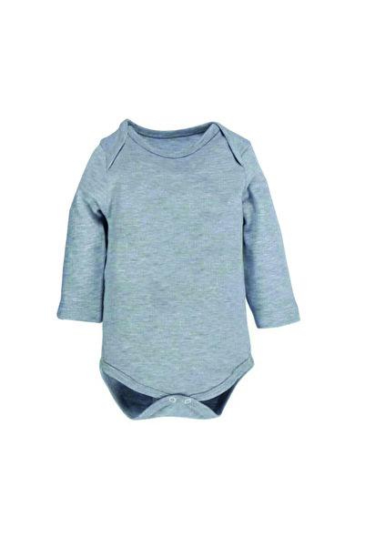 bebegen Unisex Bebek Gri Uzun Kollu Alttan Çıtçıtlı Badi Zıbın