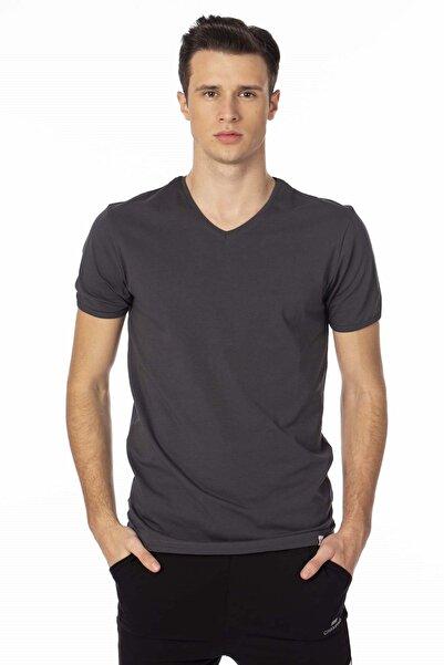 BARRELS AND OIL Basic V Yaka T-shirt-antrasit