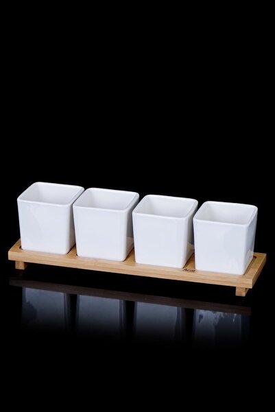 ACAR La Pure 4'lü Bambu Standlı Kare Porselen Sosluk