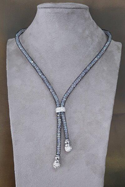 Palmiero Zirkon Taşlı Hasır Çelik Kolye Set