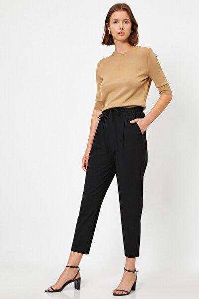 Koton Kadın Cepli Siyah Havuç Pantolon 1kak42265ıw