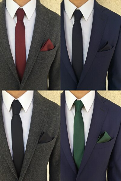 Kravatistan Bordo Lacivert Siyah Yeşil Kravat Mendil Seti