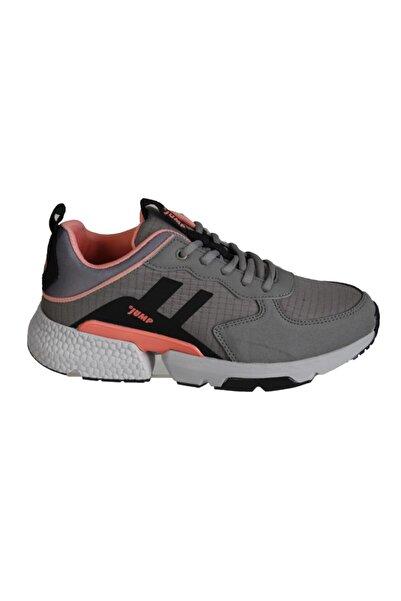 Jump Kadın Gri Siyah Kalın Taban Spor Yürüyüş Sneaker Spor Ayakkabı