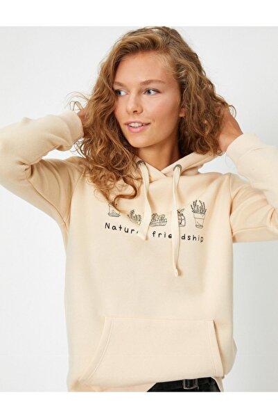 Koton Baskılı Kapüşonlu Sweatshirt