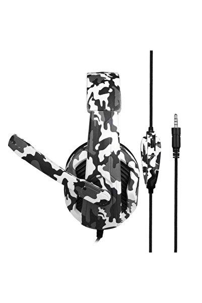 POLYGOLD Teknomarketim Pubg Oyuncu Kulaklığı Mikrofonlu Kulak Üstü Kablolu Kulaklık Beyaz