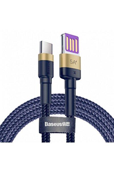Baseus Cafule Hw Serisi 40w 1 Metre Yeni Nesil Type-c Hızlı Data Şarj Kablosu Mavi / Gold