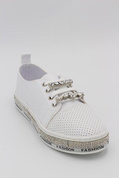 Markopark Kadın Taşlı Spor Ayakkabı Beyaz