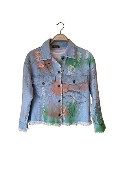 Asisty Kadın Mavi Happy Baskılı Tasarım Asist Kot Ceket