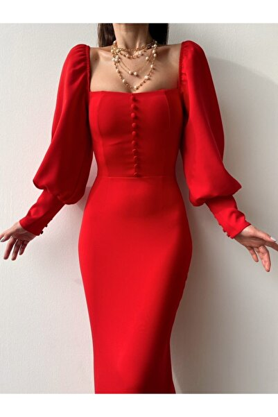 modaçelikler Kadın Kırmızı Düğme Detaylı Midi Boy Kalem Elbise