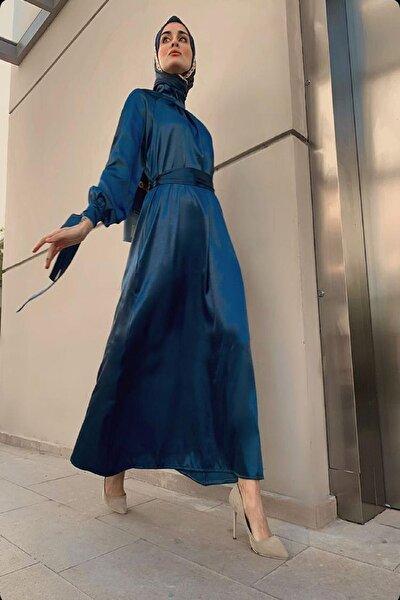 Huuq Design Kadın Mavi Saten Abiye Elbise