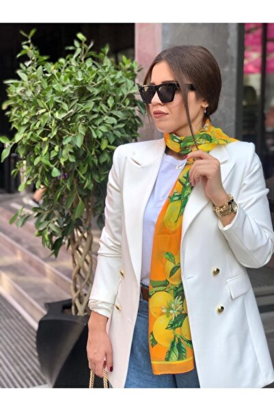 Ashley Uzun Gold Düğmeli Ekru Renk Blazer Ceket