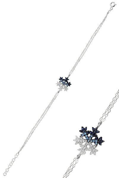 Söğütlü Silver Gümüş Rodyumlu Renkli Kar Tanesi Bileklik