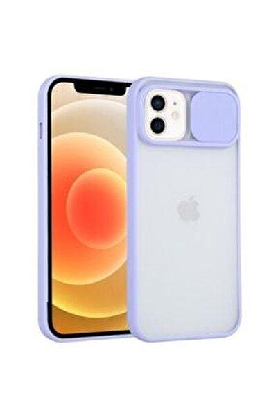 """Iphone 11 6.1"""" Uyumlu Kamera Lens Korumalı Sürgülü Lila Kılıf"""