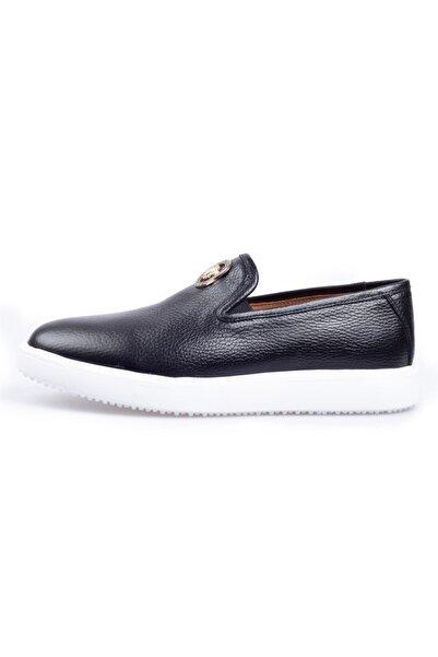 Flower Siyah Deri Tokalı Günlük Erkek Ayakkabı