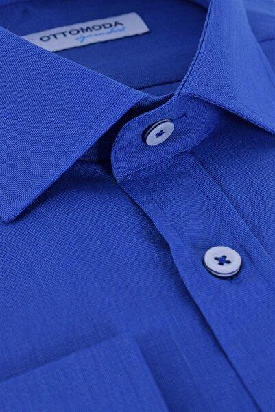 Ottomoda Uzun Kollu Klasik Düz Renk Erkek Gömlek Saks Mavi