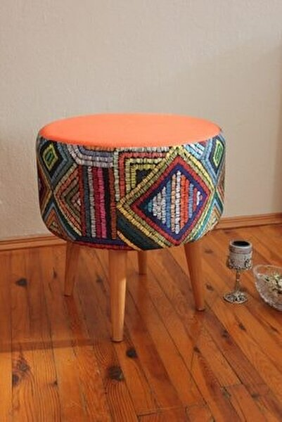 Gürgen Retro Ahşap Ayaklı Dekoratif Etnik Üst Kiremit Desenli Silindir Puf Bench Koltuk Sandalye