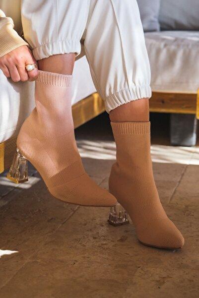 I Love Shoes Lademo Triko Kısa Topuklu Çorap Bot Ten