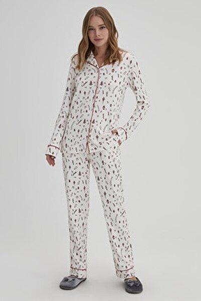Gül Kurusu Kadın Interlok Gömlek Pijama Takımı