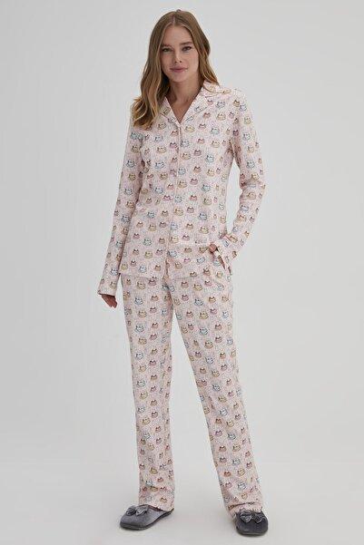 Dagi Pembe Kadın Tavşan Baskılı Gömlek Pijama Takımı