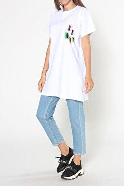 Beyaz Baskılı Kısa Kol T-shirt