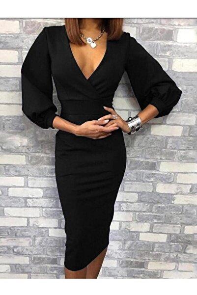 lovebox Esnek Krep Kumaş Kruvaze Yaka Uzun Kollu Siyah Elbise