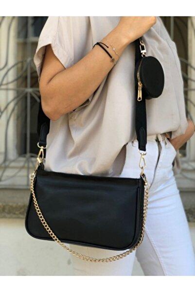 Lebina Siyah Zincir Askılı Baget Çanta
