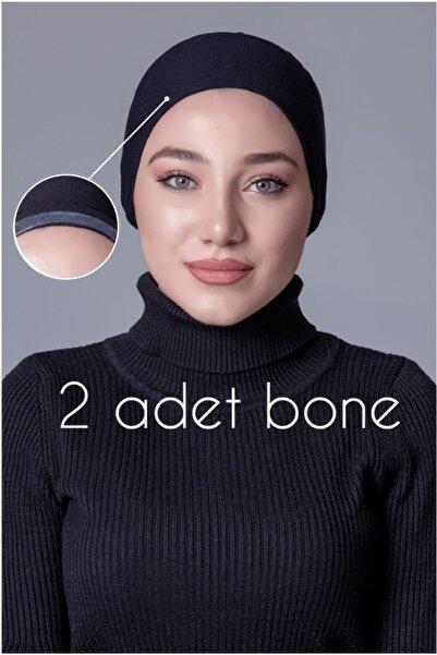 Asafir 2 Adet Penye Siyah Düz Bone