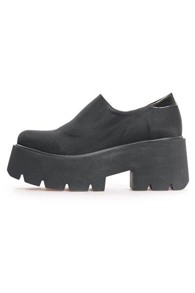 Flower Siyah Streç Kalın Tabanlı Kadın Ayakkabı