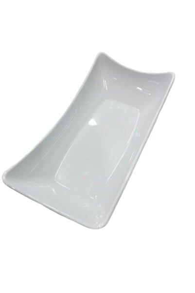 Evren Beyaz Thermo Melamin Kayık Sunum Tabağı 28*14cm