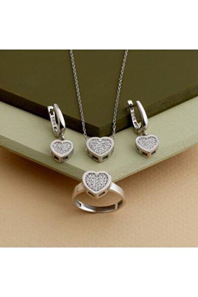 GÜLAL GÜMÜŞ 925 Ayar Gümüş Rodyum Kaplama Kalpli Set