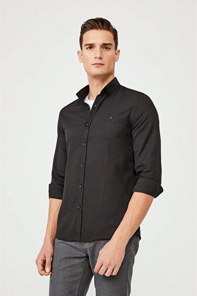 Avva Erkek Siyah Oxford Düğmeli Yaka Slim Fit Gömlek E002000