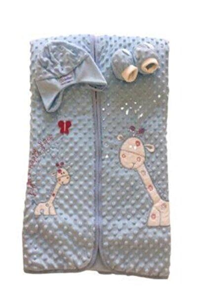 Bebessi Bebek Kundak Battaniye Zürafalı Battaniye Seti Kadife Mavi 85x85