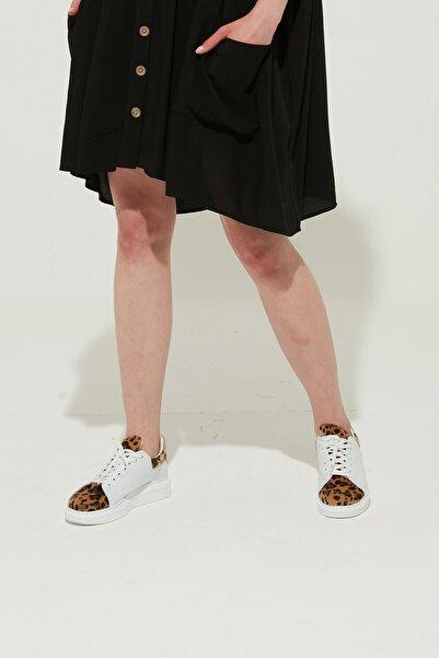 ZİNDİ Kadın Sneaker Spor Ayakkabı Leopar Beyaz