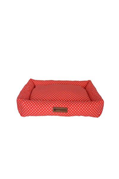 MYPETTOYS Puantiyeli Kedi Köpek Yatağı 40x50x14cm Kırmızı
