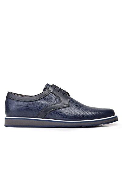 Nevzat Onay Hakiki Deri Lacivert Günlük Bağcıklı Erkek Ayakkabı -11875-
