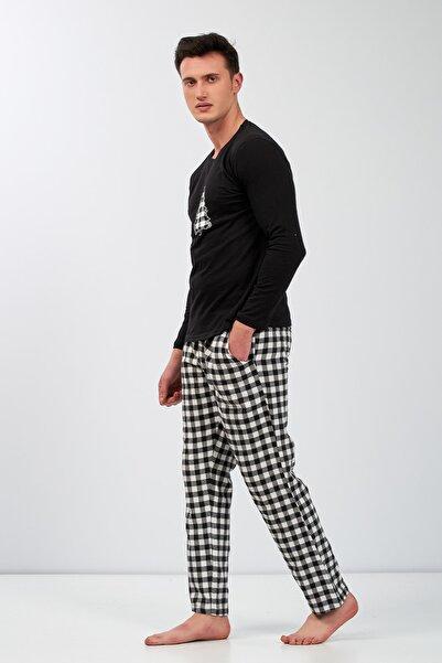 Moda Clubu Yeni Yıl Ekose Pijama Kombini Erkek Siyah