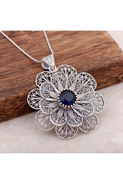 Sümer Telkari Kadın Telkari İşlemeli Safir Taşlı Tasarım Gümüş Kolye 3885