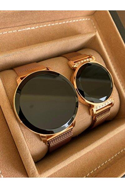 Gold Time Rose Gold Renk Hasır Mıknatıslı Kordon Dokunmatik Ekran Sevgili Saatleri