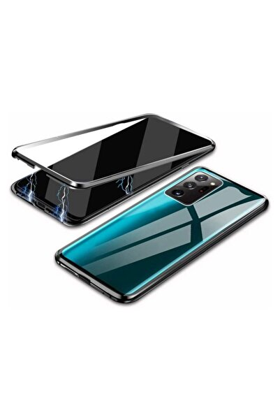 MobilCadde Dafoni Magnet Glass Samsung Galaxy Note 20 Ultra 360 Derece Koruma Cam Siyah Kılıf
