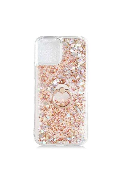 zore Iphone 12 Pro Kılıf Milce Simli Sıvılı Yüzüklü Standlı Sert