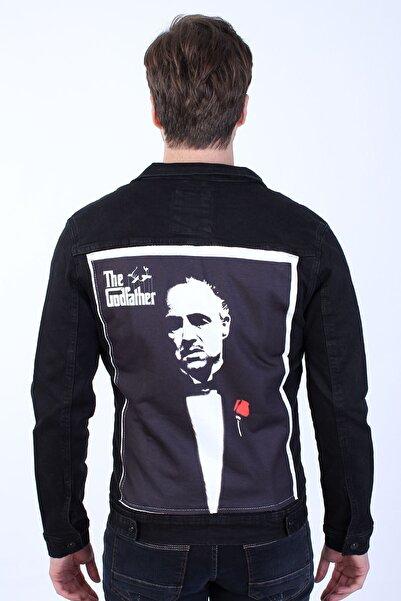 LTC Jeans Godfather Baskılı Erkek Siyah Yıkamalı Kot Ceket
