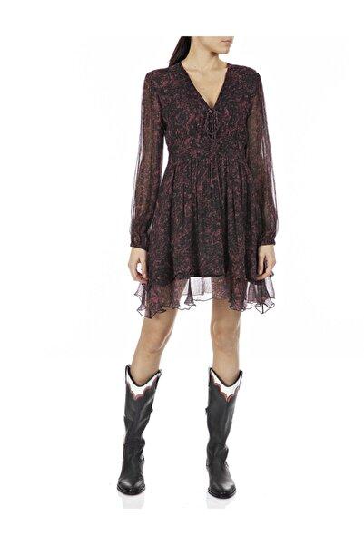 Replay Kadın Kırmızı/siyah Viskoz Elbise