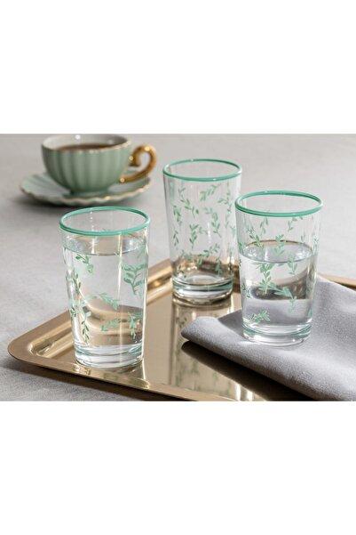 English Home Rosalinda 4 Cam 6'lı Kahve Yanı Su Bardağı 100 Ml Su Yeşili