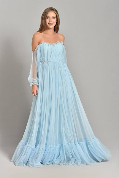 Modakapimda Kadın Bebe Mavisi Kolları Tül Abiye Elbise