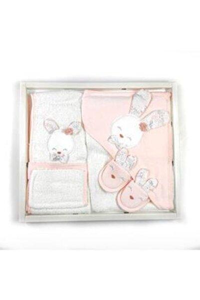 Gaye Somon Renk Sevimli Tavşanlı 4'lü Bebek Bornoz Seti