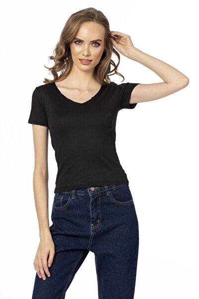 BARRELS AND OIL Kadın Siyah V Yaka T-Shirt