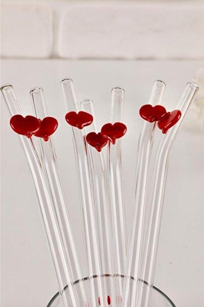 mozaikturk Kalp Figürlü Sevgiler Günü Özel 2'li Cam Pipet
