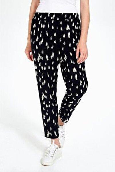 Kadın Siyah Yanları Triko Bantlı Desenli Pantolon 190-3504-01