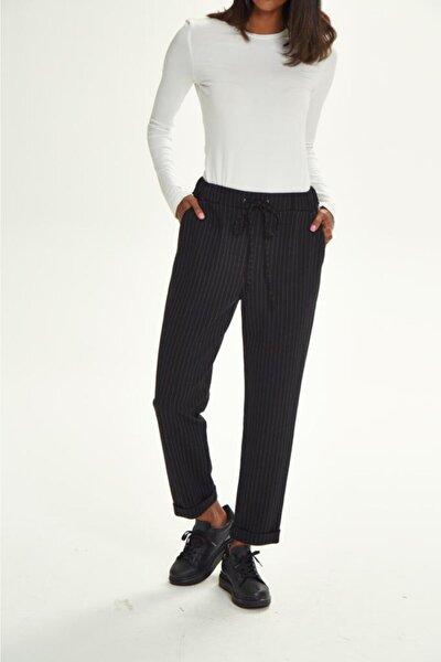 İKİLER Kadın Siyah Beli Lastikli Bağcıklı Çizgili Cepli Pantolon