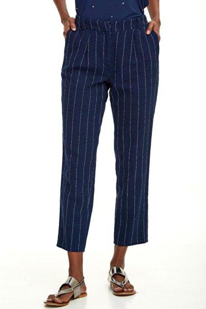 İKİLER Kadın Lacivert Beli Lastikli Çizgili Jean Pantolon